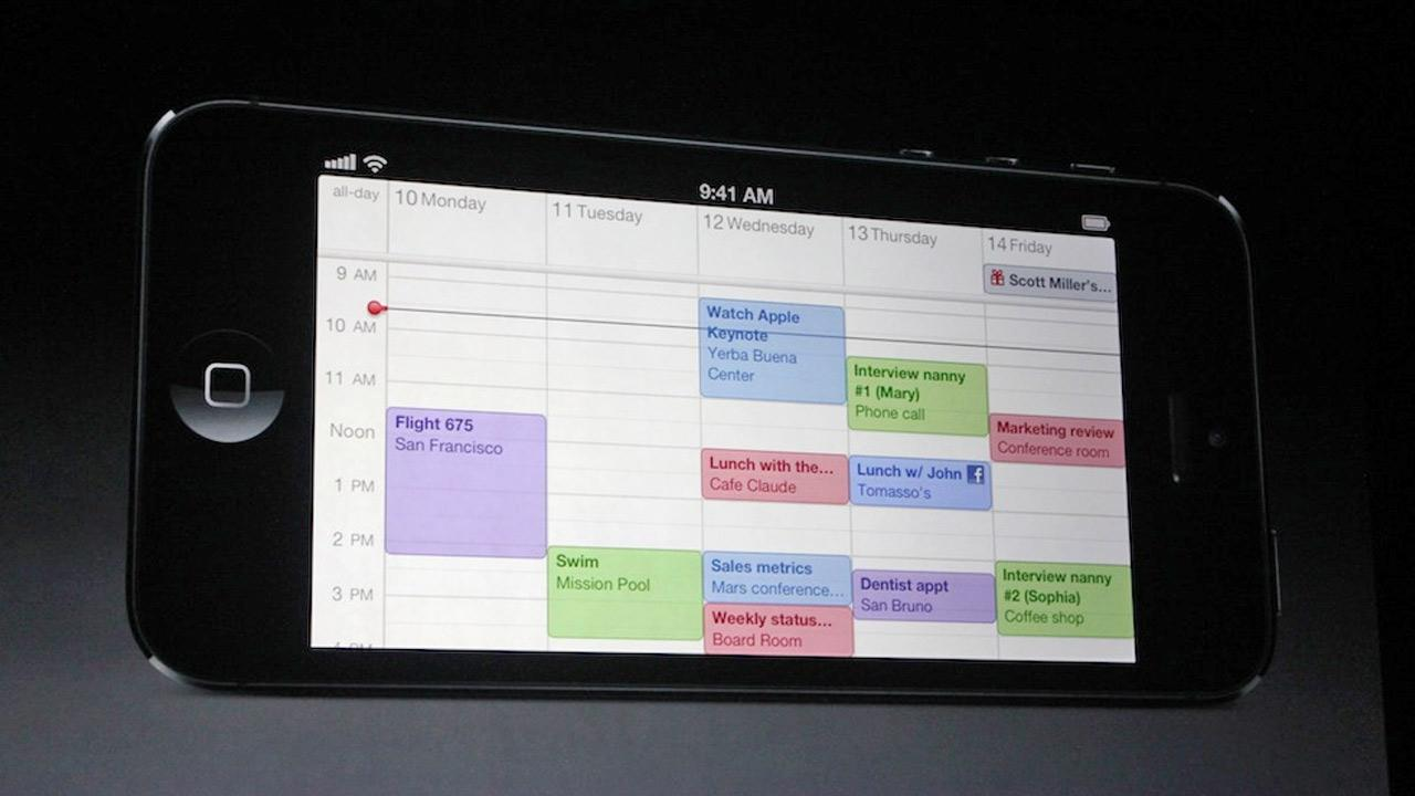 The iPhone 5 features a bigger screen, measuring 4 inches diagonally. The Calendar app on the new iPhone 5 is shown in this photo at an Apple event in San Francisco, Wednesday Sept. 12, 2012. <span class=meta>(Joanna Stern)</span>