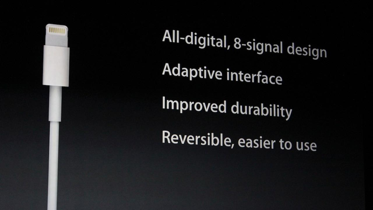 The iPhone 5 features a new dock and connector called Lightning. It is all digital, has improved durability and is reversible. <span class=meta>(Joanna Stern)</span>