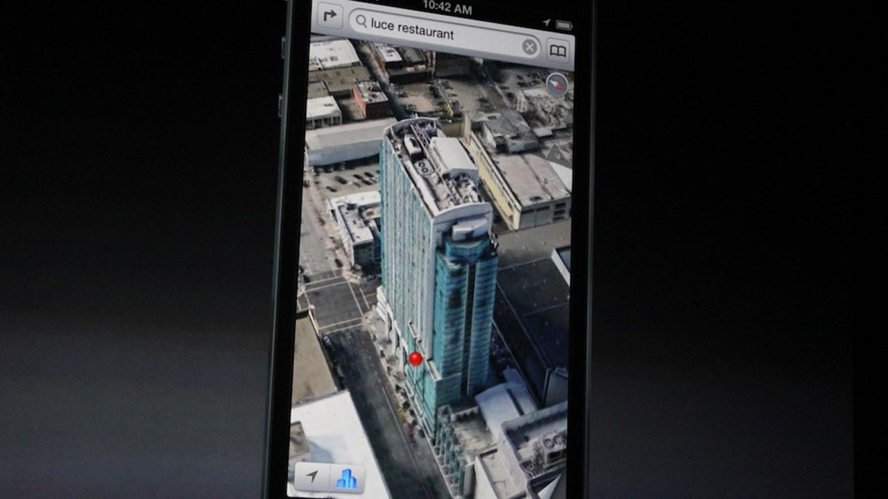 The iPhone 5 will run on iOS 6, which will include an Apple maps app, as opposed to the Google map app used in prior iPhone models. The new map app is shown in this photo taken at an Apple event in San Francisco, Wednesday Sept. 12, 2012. <span class=meta>(Joanna Stern)</span>