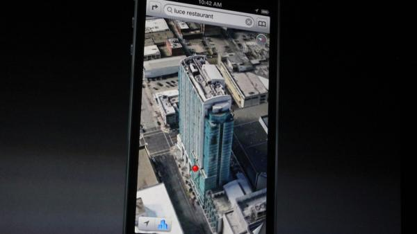 The iPhone 5 will run on iOS 6, which will include an Apple maps app, as opposed to the Google map app used in prior iPhone models. The new map app is shown in this photo taken at an Apple event in San Francisco, Wednesday Sept. 12, 2012.