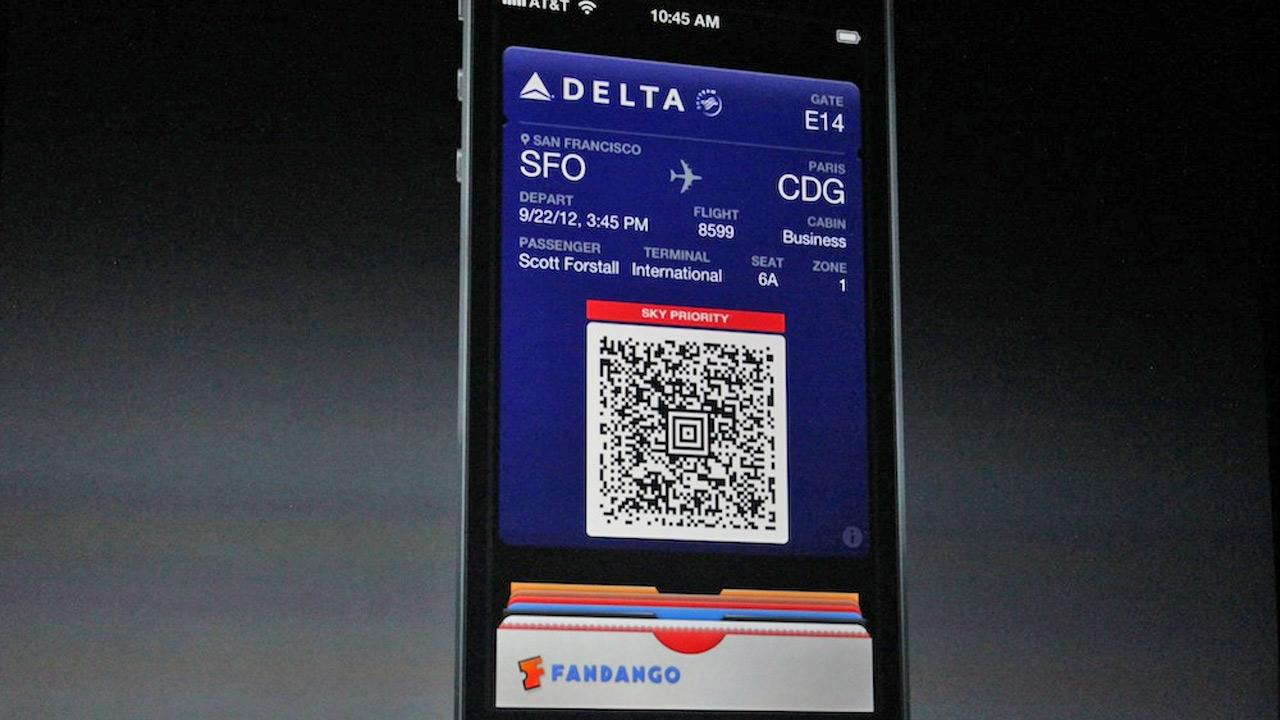 The iPhone 5 will run on iOS 6, which will include the Passbook app, which organizes airplane tickets, coupons and other such items. The Passbook app is shown in this photo taken at an Apple event in San Francisco, Wednesday Sept. 12, 2012. <span class=meta>(Joanna Stern)</span>