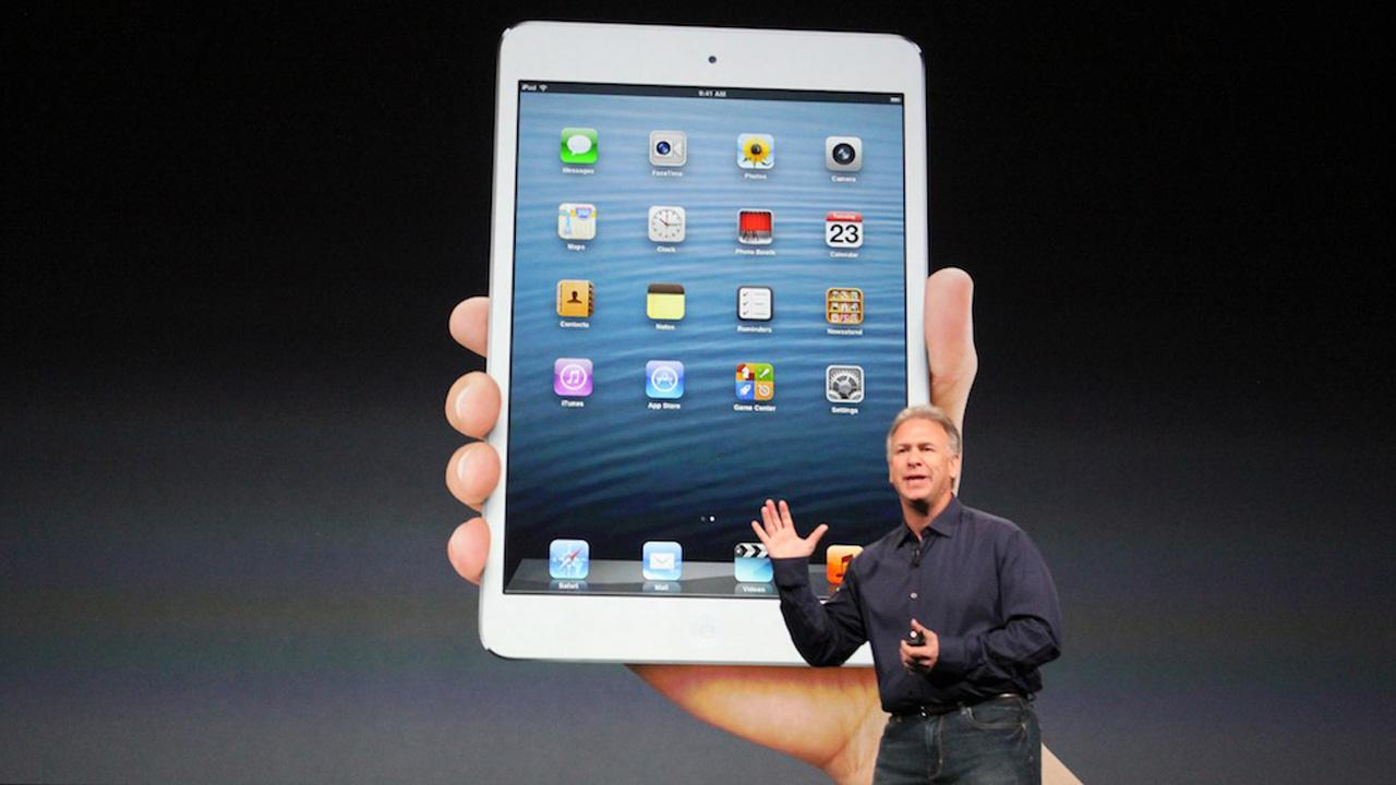 Phil Schiller, head of marketing for Apple, introduces the new iPad Mini on Tuesday, Oct. 23, 2012.