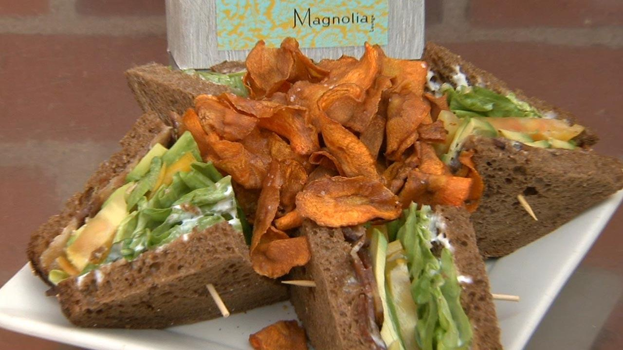 A sandwich offered at Magnolia Lounges happy hour.