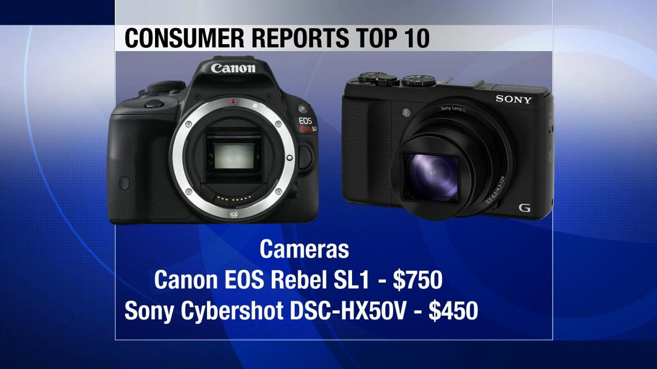 Two cameras make the top 10 list: The high-end Canon EOS Rebel SL1 sells for $750. Sonys Cybershot DSC-HX50V is a super-slim 30-optical zoom camera listed at $450.