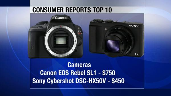 Two cameras make the top 10 list: The high-end Canon EOS Rebel SL1 sells for $750. Sony's Cybershot DSC-HX50V is a super-slim 30-optical zoom camera listed at $450.