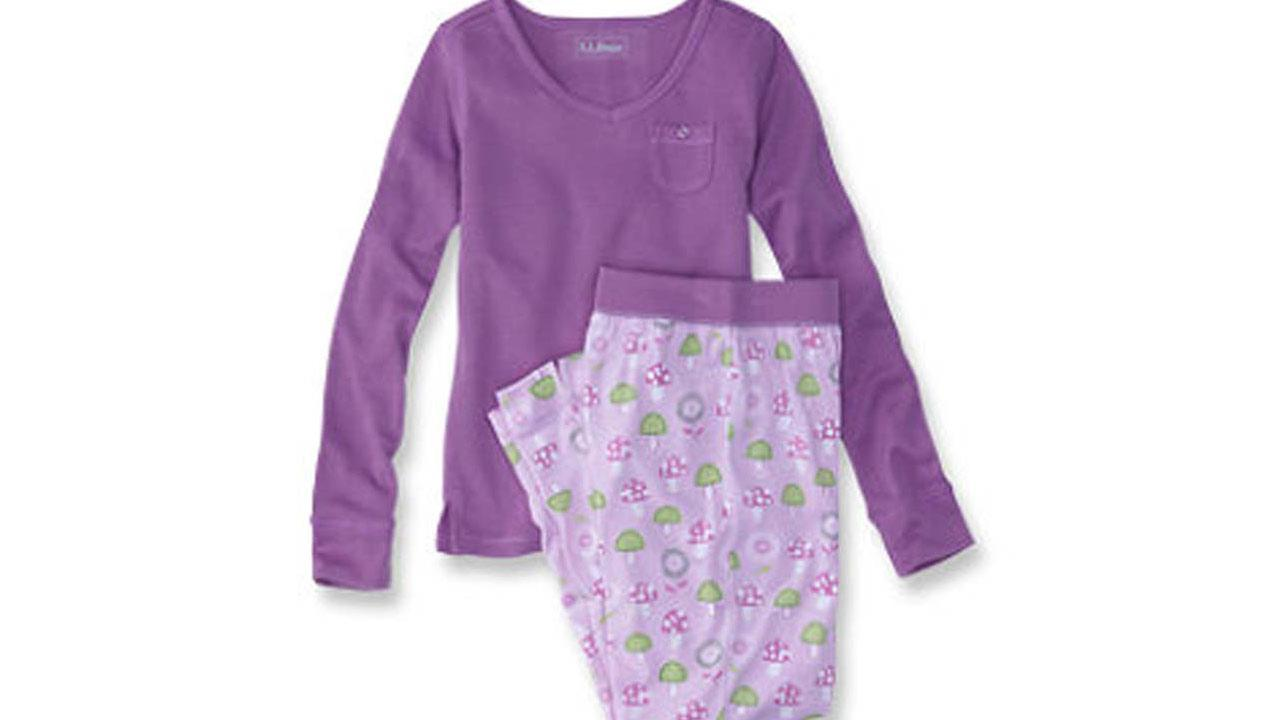 L.L. Bean girls jersey knit aurora purple pajama sets