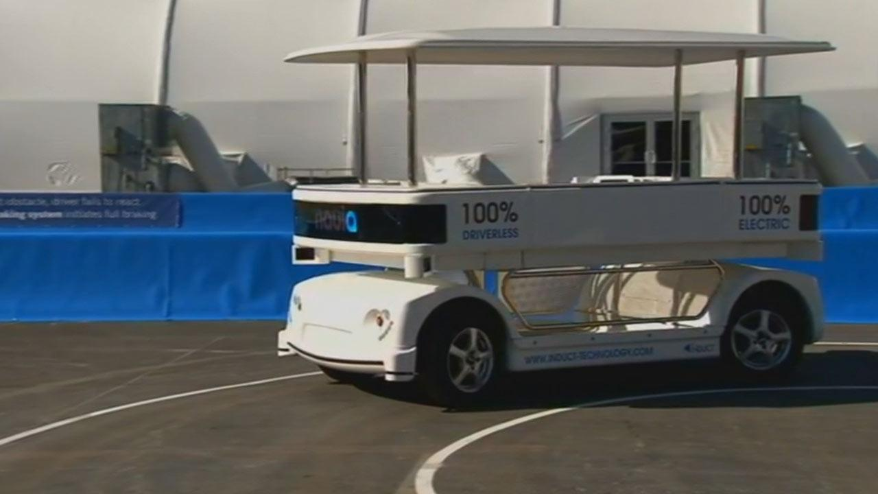 The Navia Induct is a driverless shuttle. The technology used on the shuttle is laser technology and it senses everything around it.