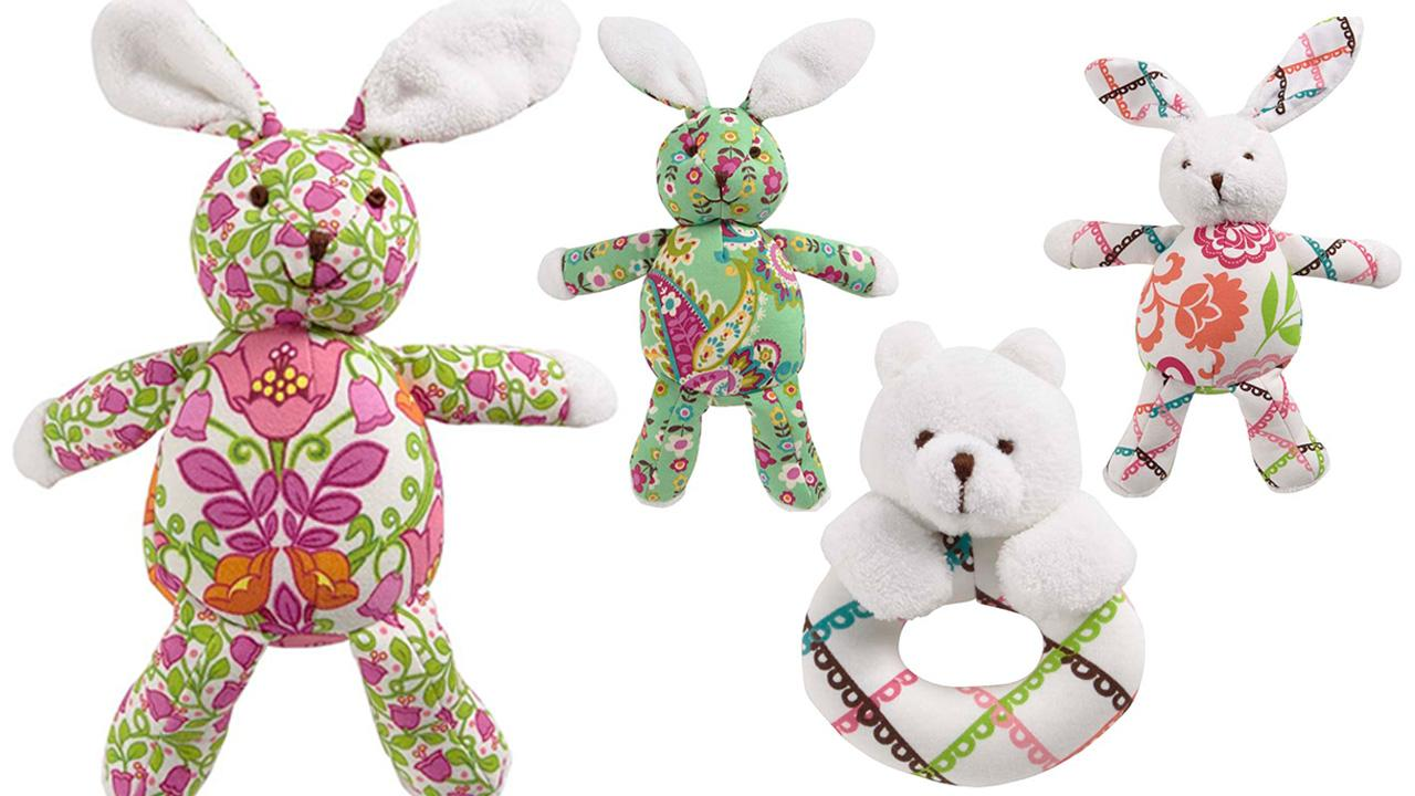 The Vera Bradley Bear Ring Rattles and Bunny stuffed toys are depicted in this photo provided by U.S. Consumer Product Safety Commission, Wednesday, March 19, 2014.