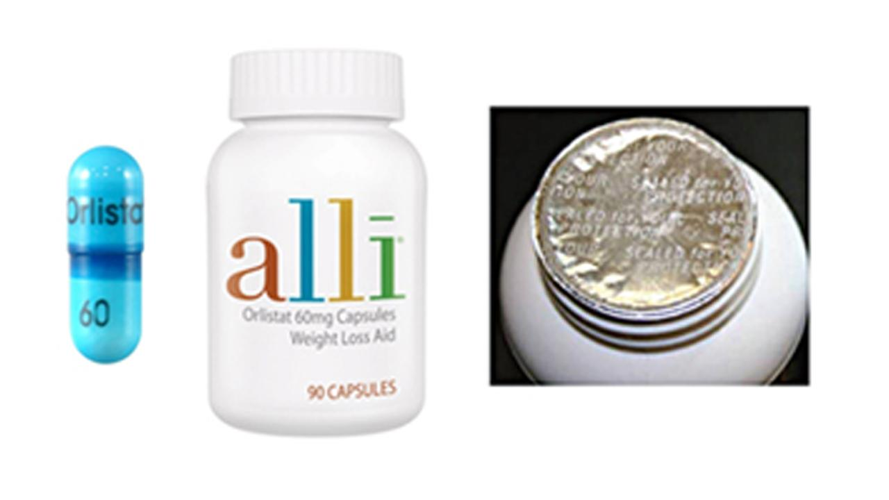 An authentic alli pill, bottle and tamper-resistant seal is depicted in this photo. GlaxoSmithKline recalled the product on Thursday, March 27, 2014.