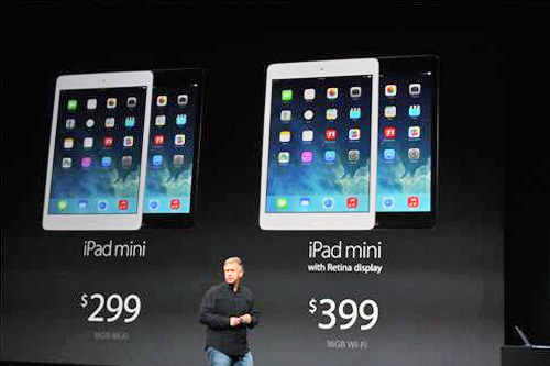The prices of the original and new iPad mini versions are shown at an Apple event on Tuesday, Oct. 22, 2013. <span class=meta>(ABC News&#47; Joanna Stern)</span>