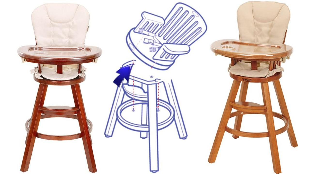 Graco Classic Wood Highchairs are shown in these images provided by the U.S. Consumer Product Safety Commission.