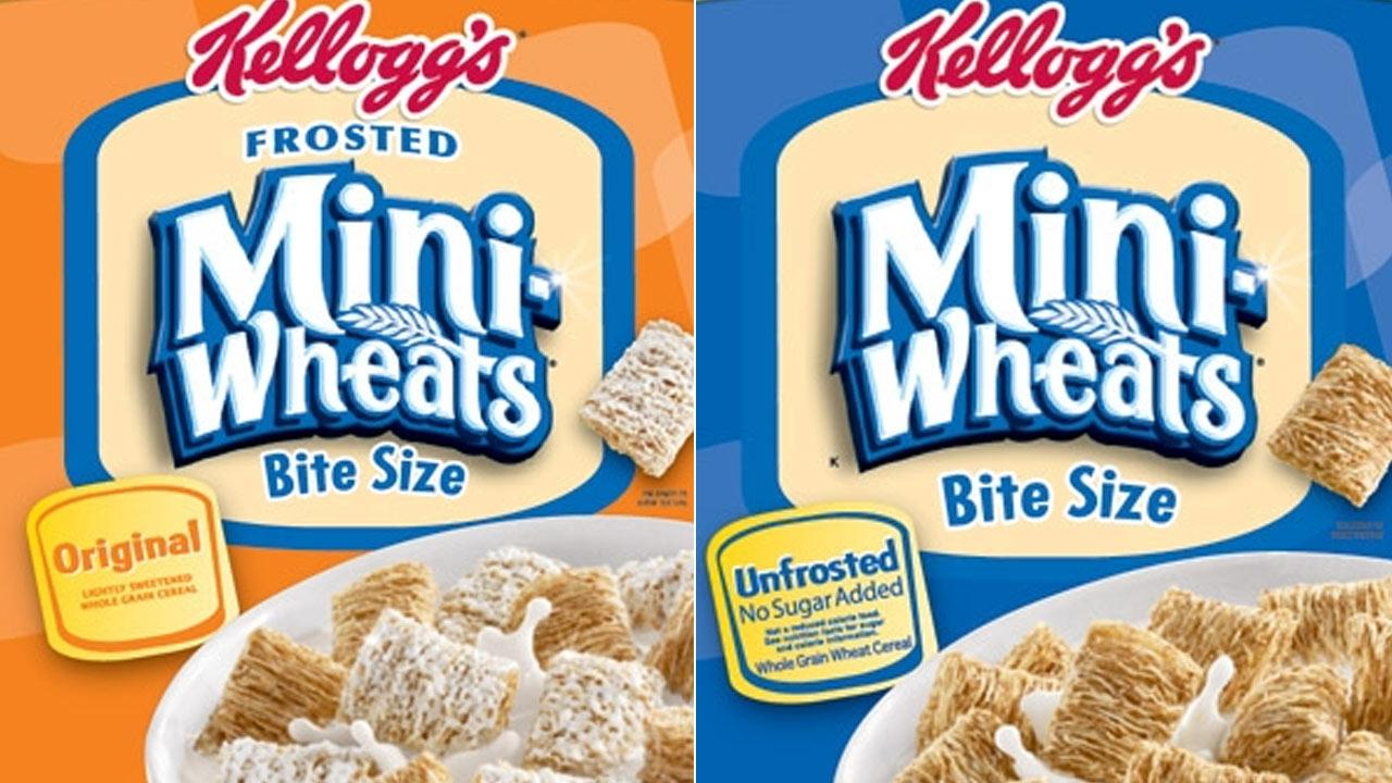 Kelloggs Frosted Mini-Wheats Bite Size (left) and Unfrosted Mini-Wheats Bite Size (right) are shown in these photos from the Kelloggs website.