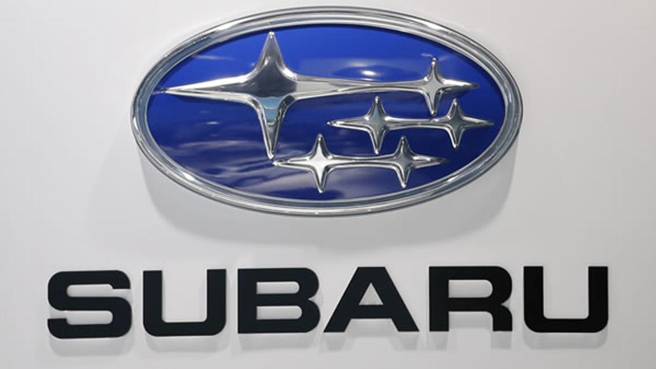 The Subaru logo is seen at the LA Auto Show in Los Angeles, Thursday, Nov. 29, 2012.