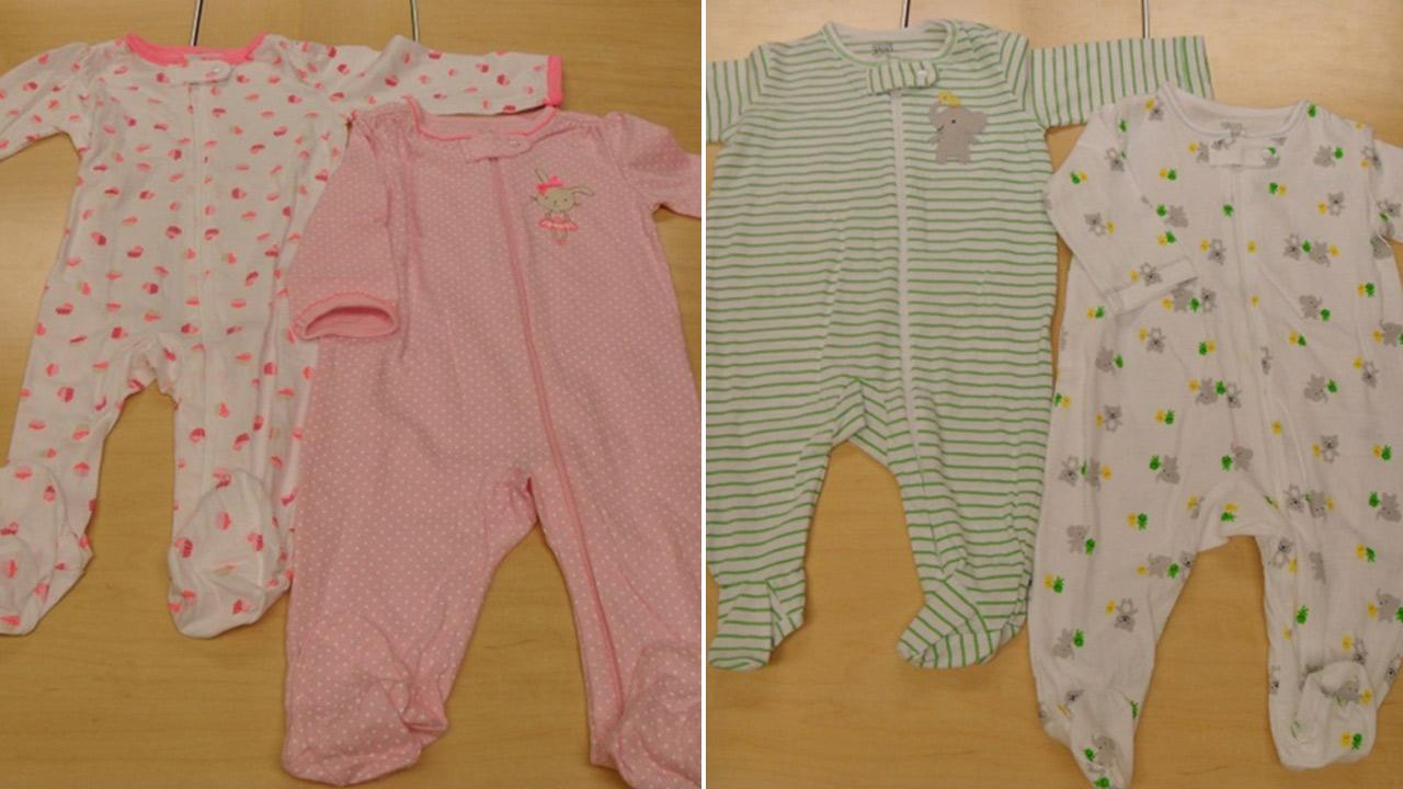 Carters brand footed infant one-piece onesies were recalled due to a choking hazard from a faulty zipper.