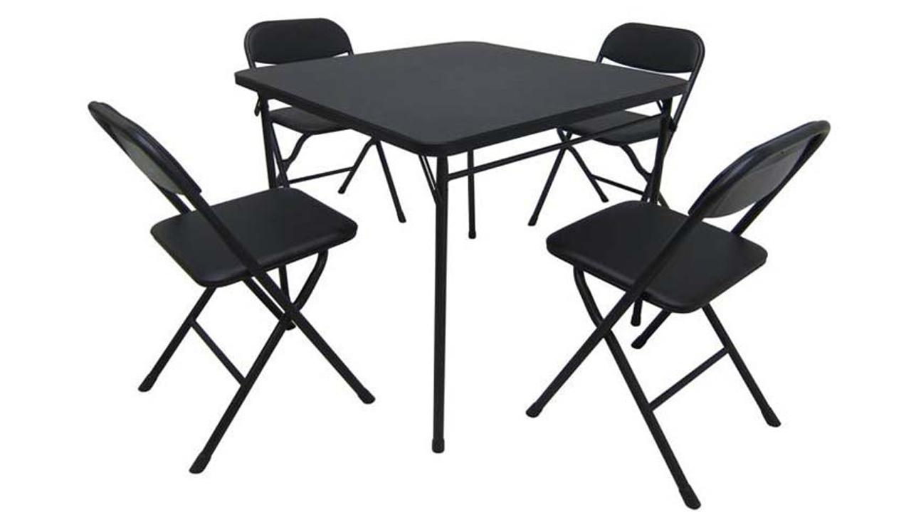 The Mainstays five-piece card table and chair set from Wal-Mart is shown in this file photo from the U.S. Consumer Product Safety Commission.