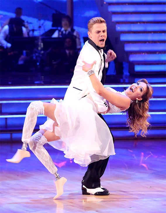 Amy Purdy and Derek Hough dance the Jive on week six of &#39;Dancing With The Stars&#39; on Monday, April 21, 2014. They received 38 out of 40 points from the judges. <span class=meta>(ABC &#47; Adam Taylor)</span>