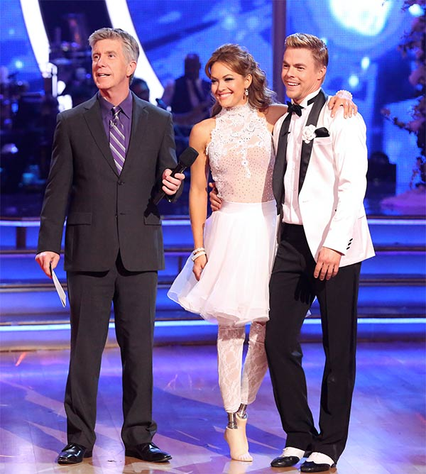 Amy Purdy and Derek Hough await their score from the judges on week six of &#39;Dancing With The Stars&#39; on Monday, April 21, 2014. They received 38 out of 40 points for their &#39;Party Anthem&#39; Jive. <span class=meta>(ABC &#47; Adam Taylor)</span>
