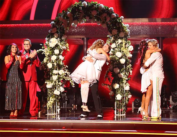 Amy Purdy, Derek Hough, Charlie White and Sharna Burgess react to being safe from elimination on week six of &#39;Dancing With The Stars&#39; on Monday, April 21, 2014. <span class=meta>(ABC &#47; Adam Taylor)</span>