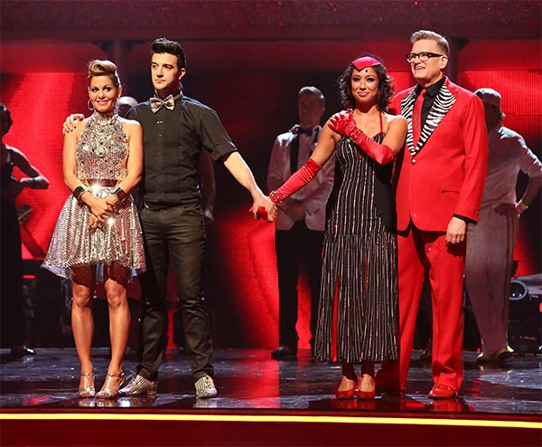 Candace Cameron Bure, Mark Ballas, Cheryl Burke and Drew Carey await their fate on week six of &#39;Dancing With The Stars&#39; on Monday, April 21, 2014. <span class=meta>(ABC &#47; Adam Taylor)</span>