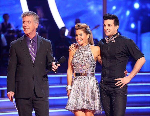 Candace Cameron Bure and Mark Ballas await their score from the judges on week six of &#39;Dancing With The Stars&#39; on Monday, April 21, 2014. They received 32 out of 40 points for their &#39;Party Anthem&#39; Cha Cha Cha. <span class=meta>(ABC &#47; Adam Taylor)</span>