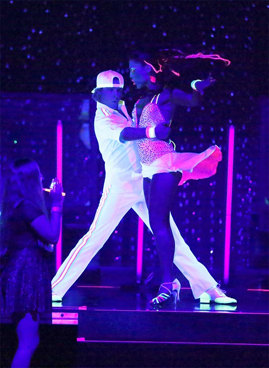 Charlie White and Sharna Burgess dance the Cha Cha Cha on week six of &#39;Dancing With The Stars&#39; on Monday, April 21, 2014. They received 36 out of 40 points from the judges. <span class=meta>(ABC &#47; Adam Taylor)</span>