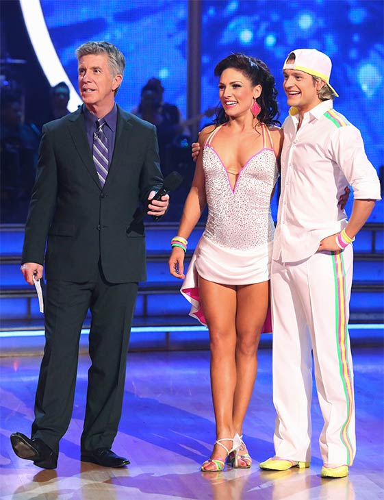 Charlie White and Sharna Burgess await their score from the judges on week six of &#39;Dancing With The Stars&#39; on Monday, April 21, 2014.  They received 36 out of 40 points for their &#39;Party Anthem&#39; Cha Cha Cha. <span class=meta>(ABC &#47; Adam Taylor)</span>
