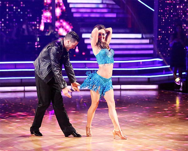 Danica McKellar and Valentin Chmerkovskiy dance the Cha Cha Cha on week six of &#39;Dancing With The Stars&#39; on Monday, April 21, 2014. They received 36 out of 40 points from the judges. <span class=meta>(ABC &#47; Adam Taylor)</span>