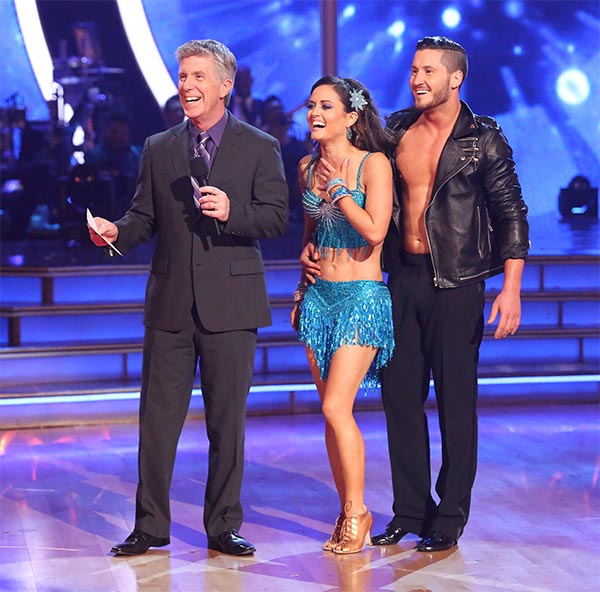 Danica McKellar and Valentin Chmerkovskiy await their score from the judges on week six of &#39;Dancing With The Stars&#39; on Monday, April 21, 2014. They received 36 out of 40 points for their &#39;Party Anthem&#39; Cha Cha Cha. <span class=meta>(ABC &#47; Adam Taylor)</span>