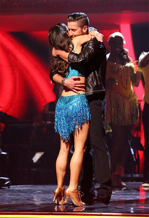 Danica McKellar and Valentin Chmerkovskiy react to being safe from elimination on week six of &#39;Dancing With The Stars&#39; on Monday, April 21, 2014. <span class=meta>(ABC &#47; Adam Taylor)</span>