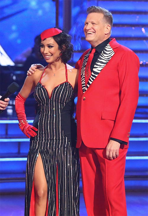 Drew Carey and Cheryl Burke await their score from the judges on week 6 of ABC&#39;s &#39;Dancing With The Stars&#39; on Monday, April 21, 2014. They received 32 out of 40 points for their &#39;Party Anthem&#39; Tango. <span class=meta>(ABC &#47; Adam Taylor)</span>