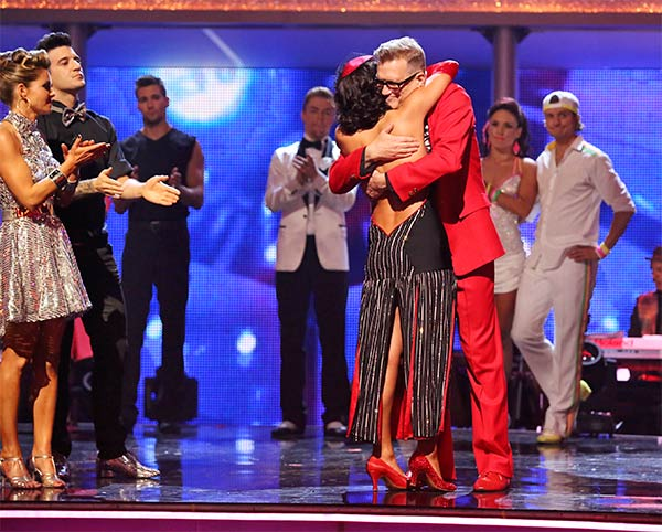 Drew Carey and Cheryl Burke react to being eliminated on week 6 of ABC&#39;s &#39;Dancing With The Stars&#39; on Monday, April 21, 2014. They received 32 out of 40 points for their Tango, placing last, and also came in last place the week before. <span class=meta>(ABC &#47; Adam Taylor)</span>