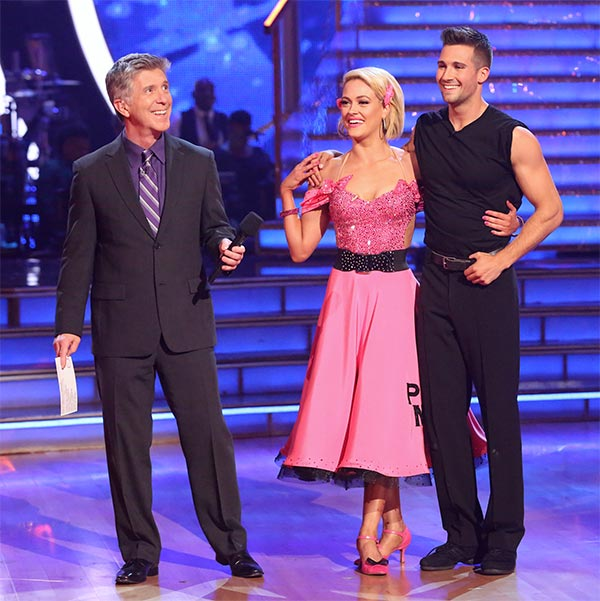 James Maslow and Peta Murgatroyd await their score from the judges on week 6 of &#39;Dancing With The Stars&#39; on Monday, April 21, 2014. They received 35 out of 40 points for their &#39;Party Anthem&#39; Quickstep.  <span class=meta>(ABC &#47; Adam Taylor)</span>