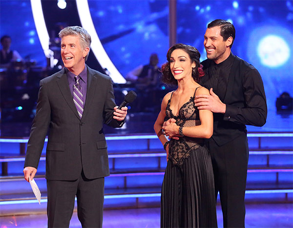 Meryl Davis and Maksim Chmerkovskiy await their score from the judges on week 6 of &#39;Dancing With The Stars&#39; on Monday, April 21, 2014. They received a perfect score of 40 out of 40 points for their &#39;Party Anthem&#39; Tango. <span class=meta>(ABC &#47; Adam Taylor)</span>