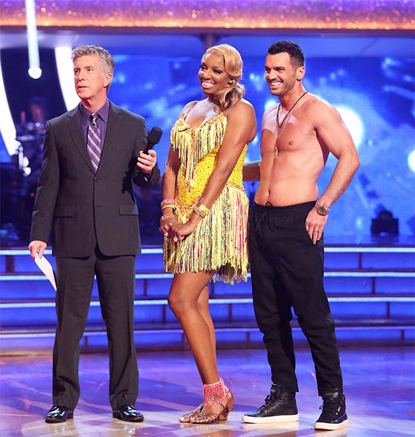 NeNe Leakes and Tony Dovolani await their score from the judges on week 6 of &#39;Dancing With The Stars&#39; on Monday, April 21, 2014. They received 33 out of 40 points for their &#39;Party Anthem&#39; Salsa. <span class=meta>(ABC &#47; Adam Taylor)</span>
