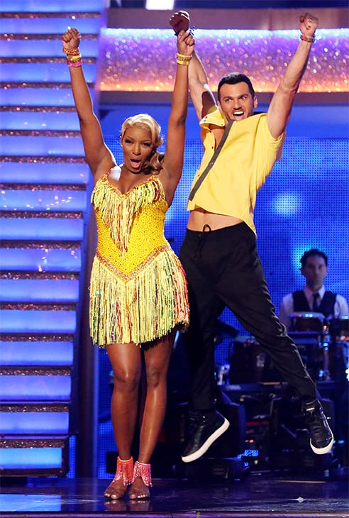 NeNe Leakes and Tony Dovolani react to being safe from elimination on week six of &#39;Dancing With The Stars&#39; on Monday, April 21, 2014. <span class=meta>(ABC &#47; Adam Taylor)</span>