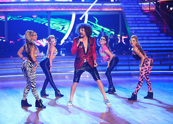 LMFAO frontman Redfoo performs with pro dancers Emma Slater, Witney Carson, Jenna Johnson and Lindsay Arnold on week 6 of &#39;Dancing With The Stars&#39; season 18 on Monday, April 21, 2014. Redfoo also served as a guest judge on the ABC show. <span class=meta>(ABC &#47; Adam Taylor)</span>