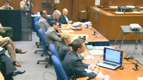 "<div class=""meta ""><span class=""caption-text "">Opening statements get underway in the involuntary manslaughter trial of Dr. Conrad Murray, Tuesday, Sept. 27, 2011 in Los Angeles. Murray has pleaded not guilty and faces four years in prison and the loss of his medical license if convicted of involuntary manslaughter in Michael Jackson's death. (KABC)</span></div>"
