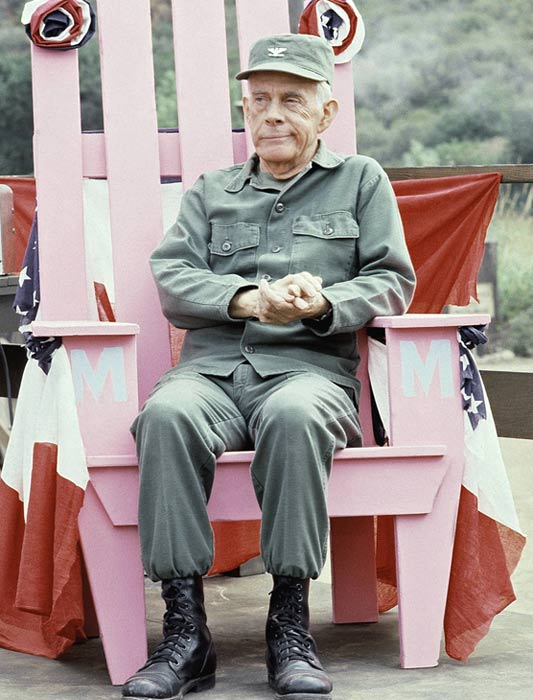 Actor Harry Morgan of 'M*A*S*H*' is shown on the set in Los Angeles, Sept. 19, 1982. Morgan died at his home in Brentwood on Wednesday, Dec. 7, 2011, after having pneumonia. He was 96.