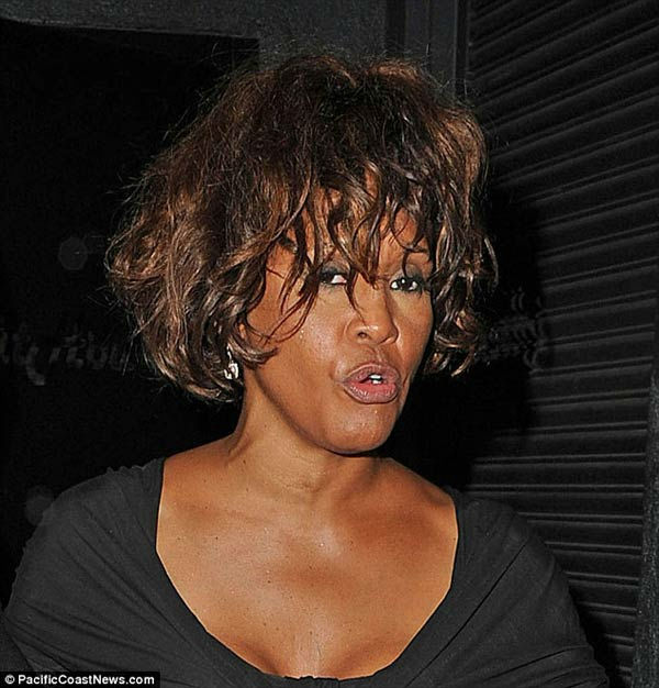 Singer Whitney Houston is seen atten