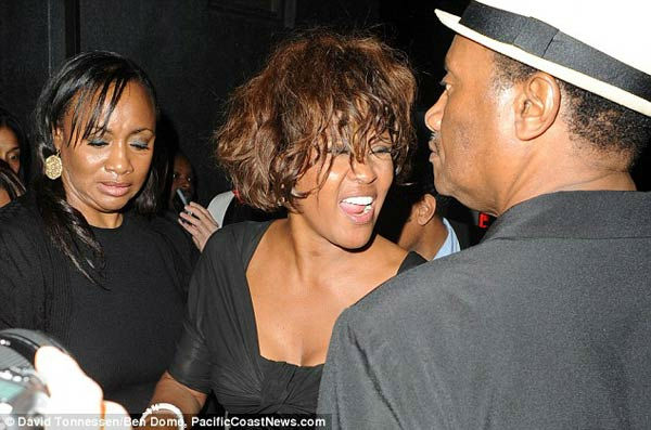 Singer Whitney Houston is seen attending a...