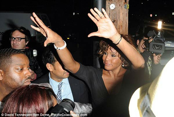 Singer Whitney Houston is seen attending a Grammy Awards event at Tru Hollywood Nightclub in Hollywood on Thursday, Feb. 9, 2012.