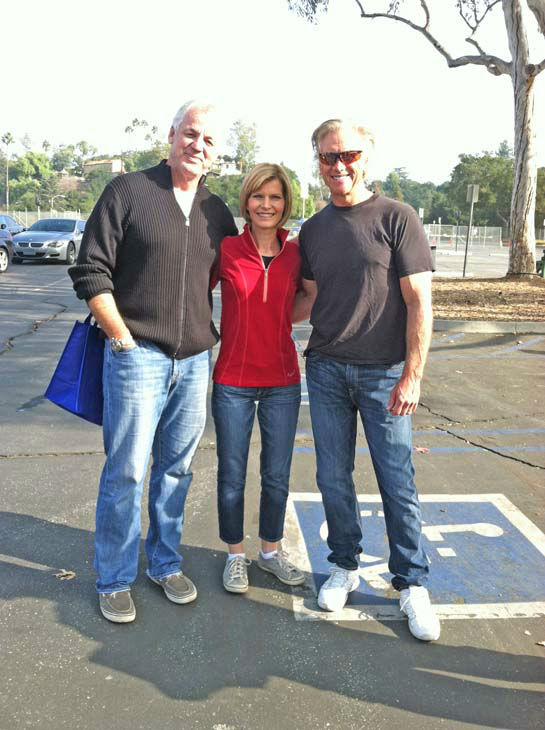 ABC7 Eyewitness News weathercaster Garth Kemp, anchor Michelle Tuzee and chief meteorologist Dallas Raines at the ABC7 Sandy relief drive at the Rose Bowl in Pasadena on Friday, Nov. 2, 2012. <span class=meta>(KABC)</span>
