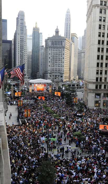 "<div class=""meta ""><span class=""caption-text "">The largest single audience taping of 'The Oprah Winfrey Show' included up to 21,000 people on Michigan Avenue for 'Oprah's Season 24 Kick-Off Party.' (AP Photo/David Banks)</span></div>"