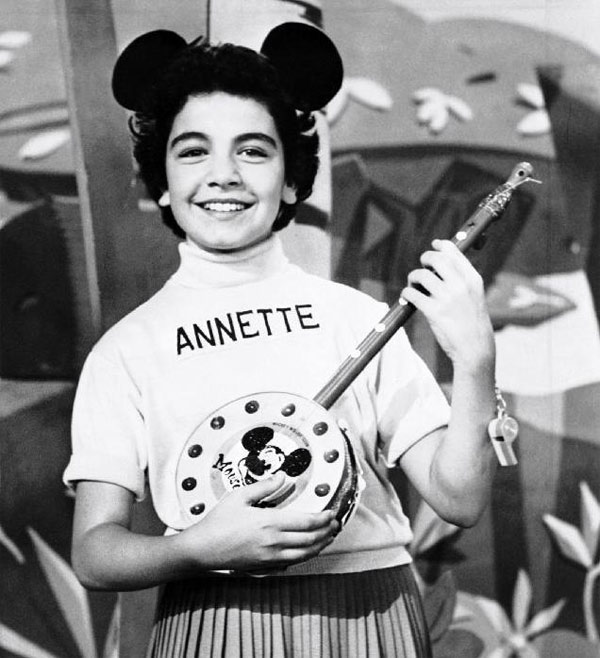 A 1955 photo of Annette Funicello, a Mouseketeer on Walt Disney&#39;s TV series the &#39;Mickey Mouse Club.&#39;  The original superstar Mouseketeer, Funicello was the picture of wholesome adorableness during the show&#39;s primary run in the 1950s, and she&#39;s maintained that sunny persona throughout her life. She went on to star in several Disney pictures, including &#39;The Shaggy Dog&#39; and &#39;Babes in Toyland.&#39; But she most famously appeared alongside Frankie Avalon in all those beach movies of the early 1960s, along with recording several top-40 pop singles. <span class=meta>(The Walt Disney Co.)</span>