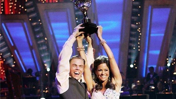 Model Brooke Burke and partner Derek Hough won the coveted mirror-ball trophy in Season 7 of 'Dancing With the Stars.'