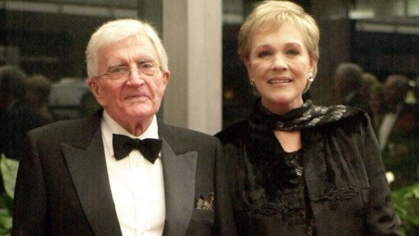 In this Dec. 1, 2001 file photo, actress Julie Andrews, right and her husband Blake Edwards arrive for the annual Kennedy Center Honors in Washington.