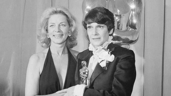 Presenter Lauren Bacall is seen with winner of Oscar for Best Costume Design, Theoni V. Aldredge, for the movie 'The Great Gatsby' at the Academy Awards in Los Angeles Tuesday April 8, 1975.