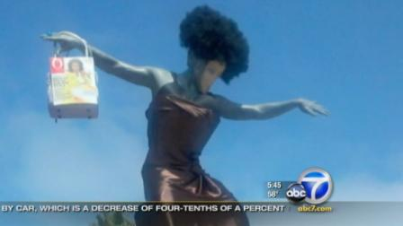 Pranksters in the San Diego area gave a famous surfer statue a makeover, paying homage to Oprah Winfrey and her long-running talk show.