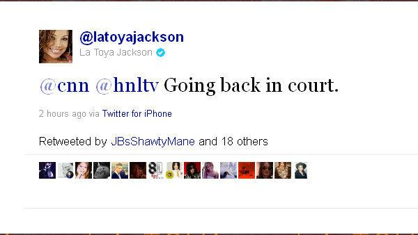 Screenshot of a La Toya Jackson (@latoyajackson) tweet during trial of Michael Jackson's doctor, Conrad Murray, on Tuesday, Sep