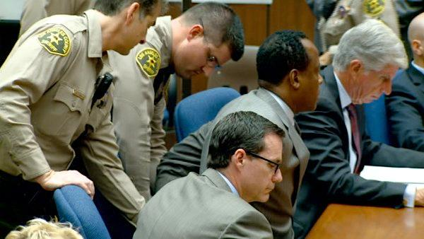 Dr. Conrad Murray is remanded into custody after the jury returns with a guilty verdict in his involuntary manslaughter trial Monday, Nov. 7, 2011.